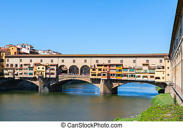 Florence town and the Ponte Vecchio bridge the Arno river