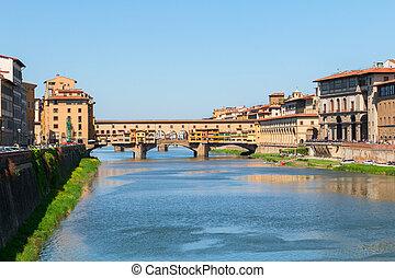 Florence town and the Ponte Vecchio bridge the Arno river