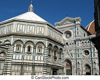 Florence - View of the Duomo and Baptistery .