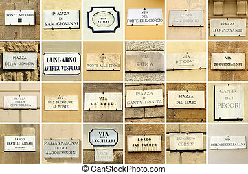 Florence wall - images with florentine street names -...