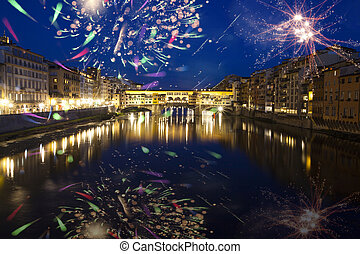 Florence with fireworks - Celebrating New Year in the city