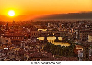florencia, arno río, y, ponte vecchio, en, ocaso, italia