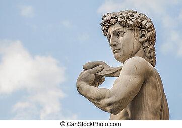 florencia, michelangelo's, italia, estatua, david
