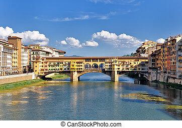 florencia, ponte vecchio, río, vista