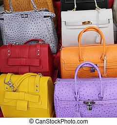 florens, (, lorenzo, läder, san, italien, mercato, di, centrale, ), kollektion, färgrik, handväskor, europa