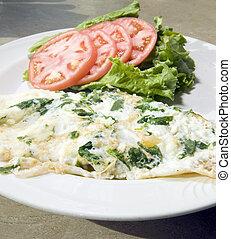 florentine, espinafre, ovo branco, omelete, queijo feta,...
