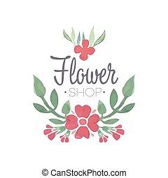 florería, verde, y, rojo, logotipo, plantilla, etiqueta, o,...