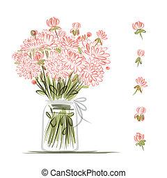 florero, con, rosa florece, bosquejo, para, su, diseño