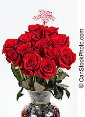florero, de, rosas rojas