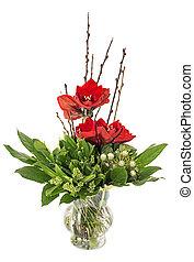 florero de vidrio, con, rojo, amaryllis