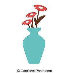 florero, flores rojas, azul