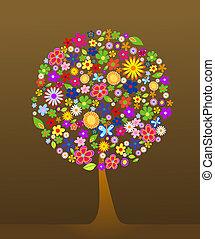 flores, árbol, colorido