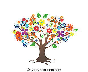 flores, árvore, abstratos