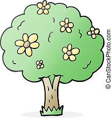 flores, árvore, caricatura