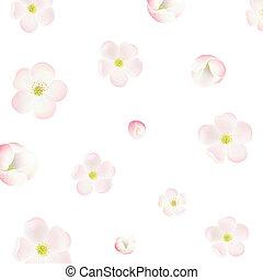 flores, árvore, maçã, fundo