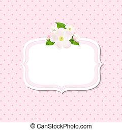 flores, árvore, maçã, fundo, etiqueta