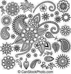 flores, étnico, elementos, mehndi