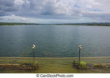 flores, 섬 호수, 보이는 상태, 에, guatemala., 공간으로 가까이, tikal, 한 나라를 상징하는, park.