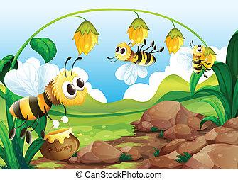flores, abeja