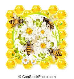 flores, abejas