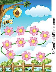 flores, abelha