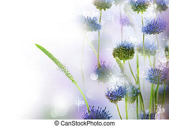 flores, abstratos, borda, desenho