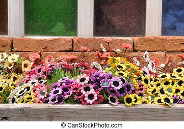 flores, ahorcadura, balcón, colorido, plástico