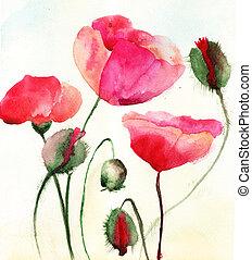 flores, amapola, estilizado, ilustración