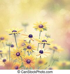 flores amarillas, plano de fondo