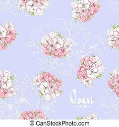 flores, apple-tree, fundo, grupos, lilás