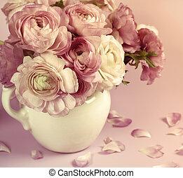 flores, arte, design., boda, feriado, tarjeta