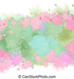 flores, arte, frame., colorido, resumen, acuarela, digital, ...