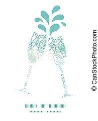 flores azuis, arte, padrão, quadro, silhuetas, vetorial,...
