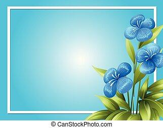 flores azuis, borda, modelo