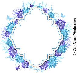 flores azuis, fundo