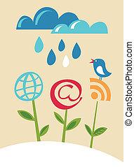 flores azuis, internet, pássaro, ícones
