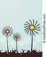flores, bandeira, três