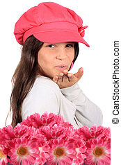 flores, beijo, soprando