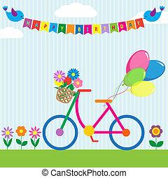 flores, bicicleta, balões, coloridos