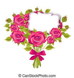flores, branca, isolado, rosas, vermelho