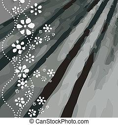 flores brancas, experiência preta