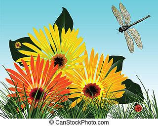 flores, bugs, cartão