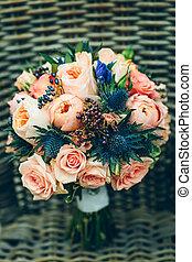 flores, buquet, nupcial, rosa