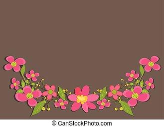 flores côr-de-rosa, borda, elemento