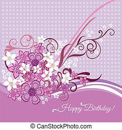 flores côr-de-rosa, cartão, aniversário