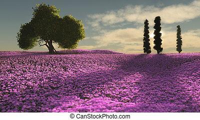 flores côr-de-rosa, cg, mar, 3d