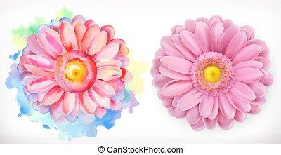 flores côr-de-rosa, primavera, aquarela, margarida, realismo, 3d