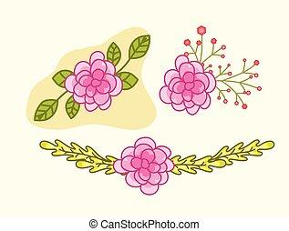 flores côr-de-rosa, projete elementos