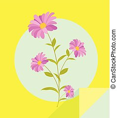 flores côr-de-rosa, ramo, vetorial