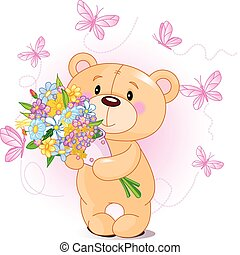 flores côr-de-rosa, urso, pelúcia
